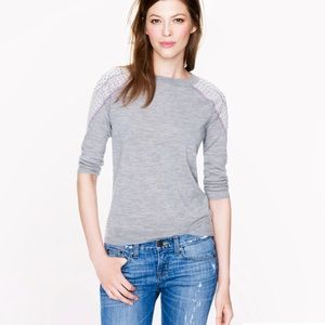 J. Crew Merino Tippi Sweater w/Shoulder Embroidery